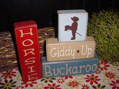 Horsie Giddy-Up Buckaroo COWBOYS Cowgirls Wood Sign Blocks Primitive Country Rustic Boys Kids Decor via Etsy