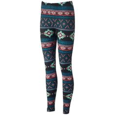 Pink Republic Peached Printed Juniors' Leggings ❤ liked on Polyvore featuring pants, leggings, pink pants, peach leggings, pink trousers, blue leggings and graphic print leggings
