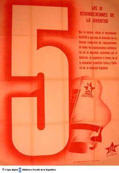 Las 10 reivindicaciones de la juventud : 5, que se declare oficial el movimiento Alerta... :: Cartells del Pavelló de la República (Universitat de Barcelona)