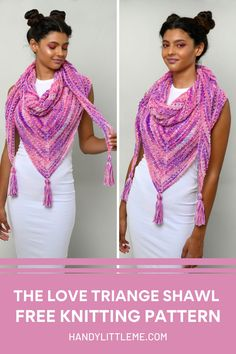 Make a triangle shawl with a simple garter stitch and yarn over stitch pattern, perfect for the spring/summer! Love Triangle Shawl Knitting Pattern. Make a triangle shawl with a simple garter stitch and yarn over stitch pattern, perfect for the spring/summer! The simple construction and details allow this design to be knit up in many different fibers and colors sure to fit your own personal style. #triangleshawl #shawlpattern #knitshawl #triangularshawl #knitting #knittedshawl Free Knitting Patterns For Women, Beginner Knitting Patterns, Knitting Projects, Knitting Abbreviations, Lace Knitting, Crochet Shawl, Knit Cardigan Pattern, How To Start Knitting, Garter Stitch