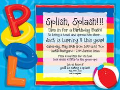 Splash Bash Personalized Invitations  Splish Splash Birthday Bash