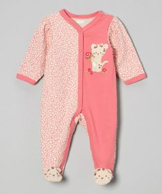 Take+a+look+at+the+Vitamins+Baby+Pink+Leopard+Rose+Kitten+Footie+-+Infant+on+#zulily+today!