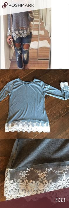 💕 Gray Top with Cream Lace XS 💕 Adorable boutique gray top with cream lace trim. Size XS. Tops Tunics