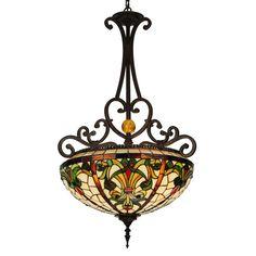 Meyda Tiffany 124836 Baroque Inverted 3-Light Large Pendant