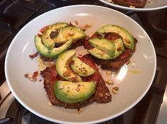 Crunchy toasted rye bread, black krim tomatoes, avocado, smoked rapeseed oil, balsamic vinegar and seeds (sent in by Daniel Foster)