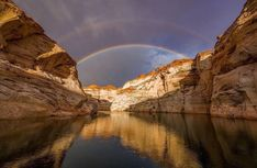Double Rainbow over Lake Powell Page Arizona, Visit Arizona, Glen Canyon, Canyon Lake, Black Car Service, Cool Photos, Amazing Photos, Domestic Flights, Lake Powell
