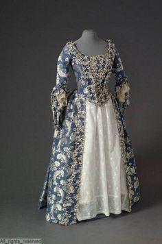 Blue taffeta open dress, 1750-1775