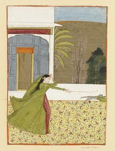 Painting, in opaque watercolour on paper, depicting a woman chasing a cat and a parrot, on a carpeted terrace. Place of Origin Punjab Hills, India (Pahari; Siba, made) Date ca. 1770 - ca. 1780 (made) Artist/maker Unknown