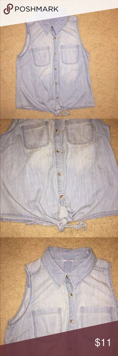 Really Cute Blue Jean Top! Sleepless Blue Jean collared Button Down top! Has a cute tie at the bottom! Tops Button Down Shirts
