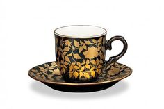 Kutani black/gold cup and saucer Coffee Cups And Saucers, Cup And Saucer, Vases, Turkish Coffee Cups, Antique Tea Cups, Gold Cup, China Porcelain, Bone China, Tea Time