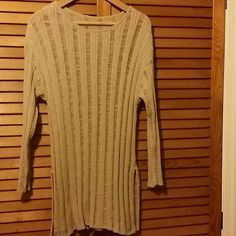 Beige see thru tunic Best if worn over a tank top. Cut outs on both sides. Straight cut Tops Tunics