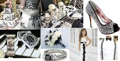 Our #wedding #inspiration board for today  Out with the old, in with the new. Anything goes these days and we just love black and white  The color meaning of white is purity, innocence, wholeness and completion. Black is the color of the hidden, the secretive and the unknown, creating an air of mystery. So we say, combine them on your wedding day! If not why not!