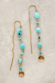 atanthropologie Threaded Coin Earrings in sky