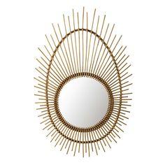 Miroir rond en rotin d 54 cm simba maisons du monde for Miroir osier