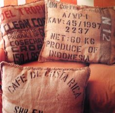 Budget Barbie: Simple Throw Pillows from Potato Sacks or Coffee Bean Sacks