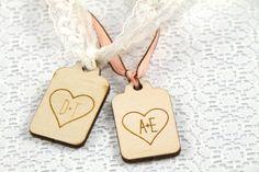 50 MINI Heart WOOD Gift Tags by bridewellmarket on Etsy, $30.00