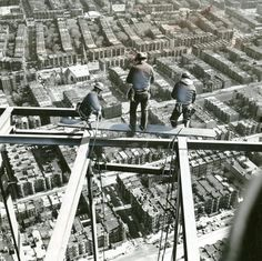 Old School Boston @OldSchoolBoston · Steel workers working on the Pru Tower more than an eighth of a mile in the air in 1963. (courtesy Boston Globe)