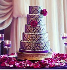 Elaborate Wedding Cakes with Exquisite Sugar Flower Detail, amazing purple and gold wedding cake, purple wedding ideas, black tie glam weddings Metallic Wedding Cakes, Purple And Gold Wedding, Indian Wedding Cakes, Big Fat Indian Wedding, Purple Gold, Indian Weddings, Damask Wedding, Cake Wedding, Indian Cake