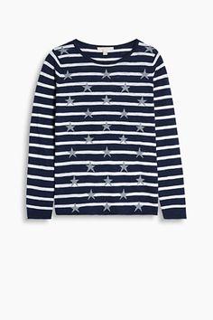Esprit / Melange intarsia jumper in a cotton blend