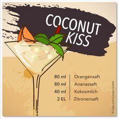 Alkoholfreier Kindercocktails für den Sommer: Coconut Kiss mit Kokosmilch Best Picture For Alcoholic Drinks pictures For Your Taste You are looking for something, and it is going to tell you exactly w Best Gin Cocktails, Cocktail Drinks, Cocktail Recipes, Alcoholic Drinks Pictures, Non Alcoholic, Healthy Smoothies, Healthy Drinks, Rum, Turmeric Shots