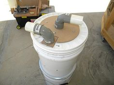 Picture of Mini Cyclone Bucket Dust Collector. As an intermediate system between tool an vacuum.