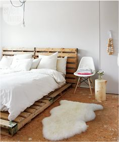 Scandinavian style from the Style at Home magazine.  Love the wuse of the pallets for the bed!