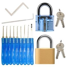Lock Pick Set for Beginners & Professionals - 11 Piece Locksmith picking kit (9 Lock Picks & 2 Tension Wrench tools) + 2 Padlocks (Transparent Practice Lock + Real padlock)
