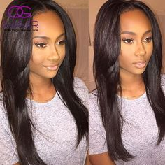 66.94$  Buy here - http://alia8l.worldwells.pw/go.php?t=32694221697 - Grade 7a Full Brazilian Lace Wig Straight Lace Front Brazilian Wig With Baby Hair Cheap 8-26inch Straight Human Hair Lace Wig 66.94$