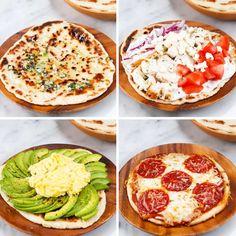 2 ingredient flatbread - Greek yogurt & self rising flour Tasty Videos, Food Videos, Recipe Videos, Healthy Snacks, Healthy Eating, Healthy Recipes, Cuisine Diverse, Good Food, Yummy Food