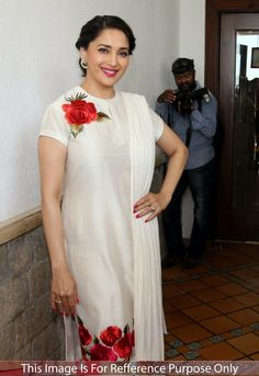 Madhuri Dixit Georgette Floral Print White Semi Stitched Bollywood Designer Suit - r163 In Stock: Rs 1,199