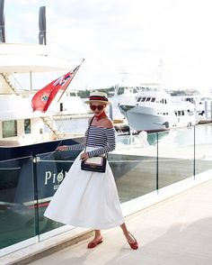 Pin for Later: 26 Stylish Red, White, and Blue Outfits That Aren't Obvious A Nautical Top, Striped Sun Hat, and Bandana