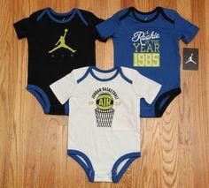 Air Jordan Baby Boy 3 Piece Bodysuit Set~Blue, White & Black~Rookie of the Year~ #Jordan #Everyday