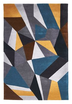 and this Hand-tufted Blue Grey Yellow Wool Rug - Rug Emporium - 1 Abstract Geometric Art, Geometric Rug, Carpet Tiles, Rugs On Carpet, Wool Carpet, Area Rug Placement, Patterned Carpet, Carpet Design, Modern Rugs
