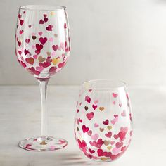 We love wine and we know you do, too. Express your love with our charming, handblown, hand-painted wine glasses. Share a bottle with your beloved on Valentine's Day, or rock the hearts every day to express your undying affection for your favorite pinot.