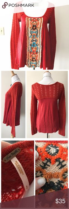 Beautiful Embroidered Red Sweater by Free People This color is stunning! Bright red top by FP, size Small, fits loose throughout torso with a deep scoop neck making for a flattering cut. Sleeves are a loose sweater knit and bell just slightly at the end. Love the embroidery down the middle, in excellent condition - only sign of wear is a loose embroidery thread (see pic 3). Free People Tops Tees - Long Sleeve