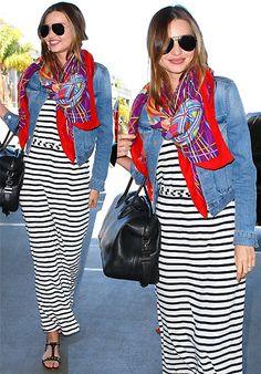MIRANDA KERR /striped maxi dress/ jersey maxi/ denim jacket/ summer scarf