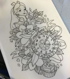 17 Unique Arm Tattoo Designs For Girls Alice in wonderland tattoo Arm Tattoos, Cute Tattoos, Body Art Tattoos, Sleeve Tattoos, Tattoo Thigh, Tattoos Pics, Tattoo Images, Tattos, Temporary Tattoos