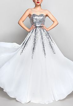 A-line Sweetheart Floor-length Chiffon And Sequined Evening/Prom Dress