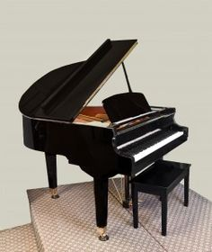 2003 George Steck 4'7 Baby Grand Ebony Polish Brass Hardware Short & Long Lid Props bench included