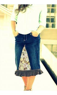 Womens custom midi length denim skirt with floral print cener and polka dot ruffle hem. -Apostolic Clothing #customdenimskirts #modest #jean