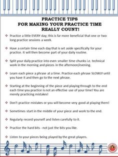 FREE Download. A one page handout of TEN practice tips! A great 'first page'in a…