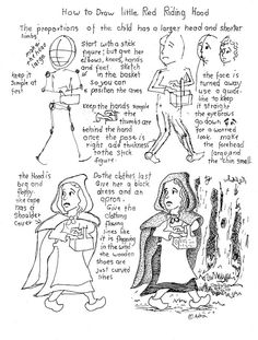 How to draw Little Red Riding Hood printable worksheet.
