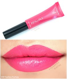 L'Oreal Infallible Lip Paints: Review and Swatches Dark Lipstick, Lipstick Shades, Liquid Lipstick, Paint Swatches, Lipstick Swatches, Lipsticks, Loreal Infallible Lip Paints, Lips Painting, Tanning Cream