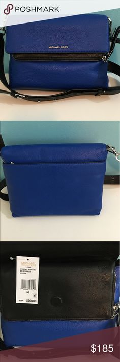 NWT Leather Black&Blue Michael Kors sidebag Gorgeous leather Micheal Kors sidebag/messenger. Adjustable strap and multiple zip and snap compartments for all of your valuables 🤗 Brand New! Dustbag included 👍🏼 Michael Kors Bags Crossbody Bags