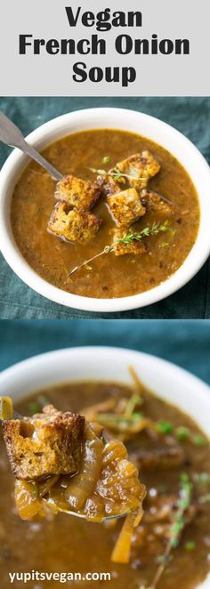 Vegan French onion soup recipe, with meticulously crafted vegetarian savory broth and dairy-free umami croutons. The real deal!