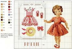 Girl with clothes. Free sewing pattern graph.