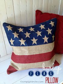 Best of Bloggers DIY Projects: No Sew Burlap Flag Pillow - Easy DIY 4th of July Decoration to Make!