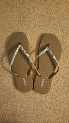 Diy flip flops, Old Navy with rinestone  adhesive strips glued on to stay secure. Gold flip flops with rinestones.