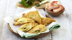 If you're expecting guests over during the holidays for drinks, serve up these prawn wellingtons on a festive platter. Crab Puffs, Prawn, Platter, Pastries, Seafood, Festive, Asian, Fish, Holidays