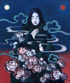 Series of paintings and drawings exploring Korean heritage & traditional folk stories by artist Stella Im Hultberg